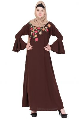 Bell Sleeved- Embroidered Abaya- Brown