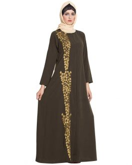 Front Open Abaya With Embroidery-Olive