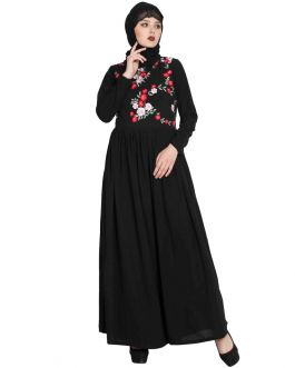 Black Abaya With Floral Embroidery