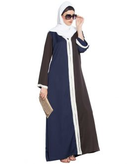 Maha-Front Open-Dual Color Abaya With Imported Pearl Lace-Blue