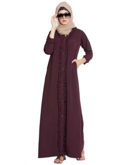 Rukna-Front Open Abaya With Frills On Panels And Sleeves-Maroon-Nida Matt