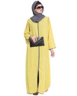 Reem-Front Open Casual Abaya With Pipens In Contrast-Lemmon Yellow-Nida Matt