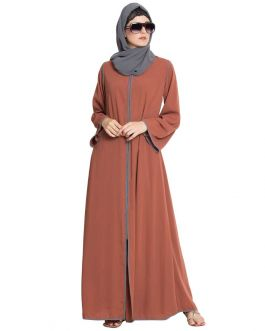 Online Casual Abaya With Contrast Piping