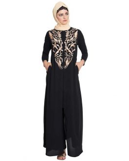Gorgeous Front Open Casual Abaya For Girls-Black