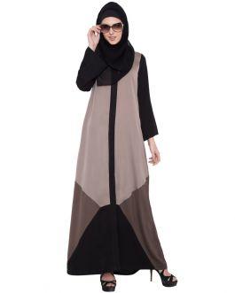Black Light Grey-Grey-Front Open Abaya
