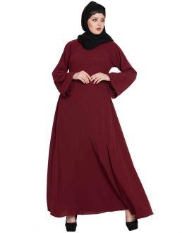 Biased Cut- Umbrella Flare Abaya- Maroon