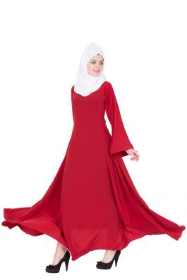 Biased Cut- Umbrella Flare Abaya- Red