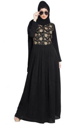 Nelly-Royal Look-Jute Embroidery-Umbrella Abaya Dress-Black-Beige print