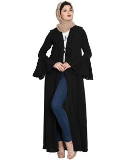 FAJR- Long Cardigan Abaya with Frills and Bell Sleeves-Black