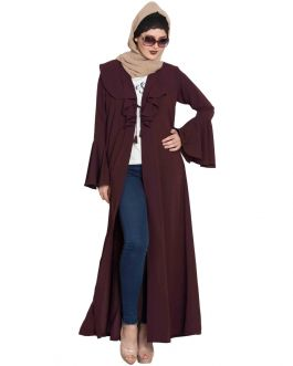 FAJR- Long Cardigan Abaya with Frills and Bell Sleeves-Wine