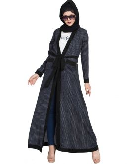 FALISHA Long printed Cardigan Abaya with Contrast borders and Belt-Ink Blue
