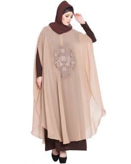 Dubai Style Abaya with Embroidered Cape-Beige
