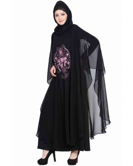 Dubai Style Abaya with Embroidered Cape-Black