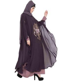 Dubai Style Abaya with Embroidered Cape-Purple