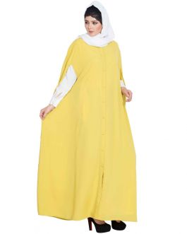 Front Open Designer Abaya|Two Pc Set of Cape and Abaya-Lemon Yellow