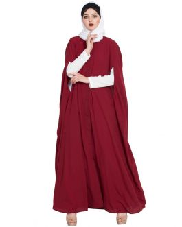 Front Open Designer Abaya|Two Pc Set of Cape and Abaya-Maroon