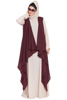 AIDA-Sleeveless-Free Size Shrug For Any Abaya-Wine