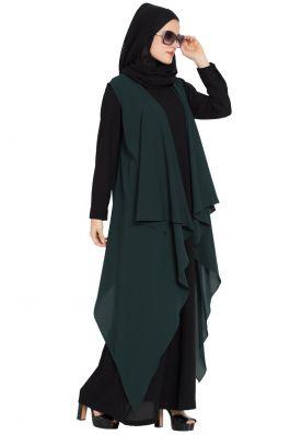 AIDA-Sleeveless-Free Size Shrug For Any Abaya-Dark Green