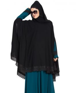 Printed Blue Double Layer Beautiful Shrug Abaya from Mushkiya.com