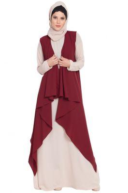 AIDA-Sleeveless-Free Size Shrug For Any Abaya-Maroon