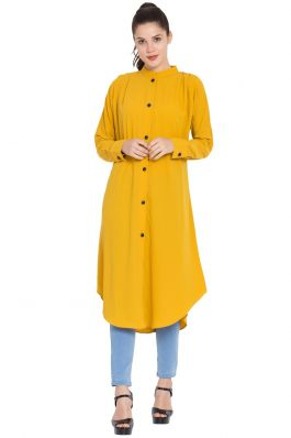 Front Open Kurti with Pleats on Shoulders-Mustard
