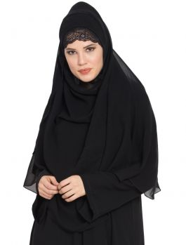 Ready to Wear-Instant Hijabs made in Super Fine Georgette-Black