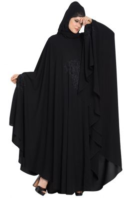 Embroidered Irani kaftan in Free Size - Black-Black