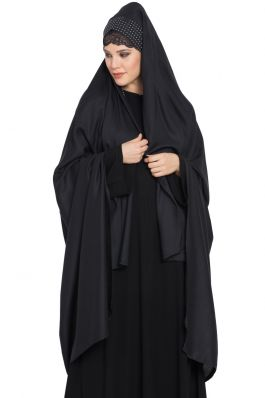 Irani Chadar-Rida Hijab with Detachable Nose Piece Made in Rayon Black