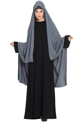 Irani Chador with Detatchable Nose Piece-Made in Nida Matt-Grey
