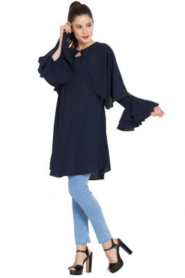Modest-Designer Kurti-Navy Blue