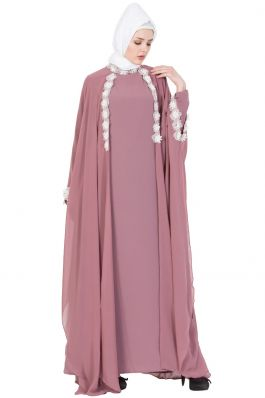 Bridal Abaya | Designer Abaya Dress- Puce Pink