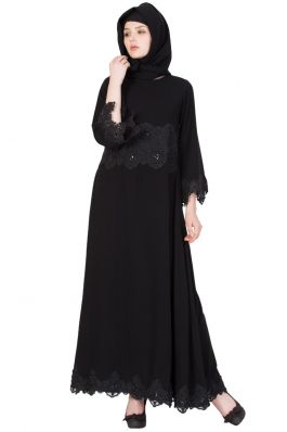 Designer Burqa with Lace-Black