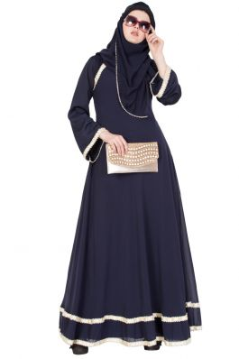 Designer Abaya With Pearl Lace- Navy Blue