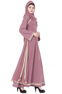 Designer Abaya With Pearl Lace- Puce Pink