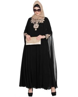 Two Piece Set of Dubai Style Designer Abaya -Black