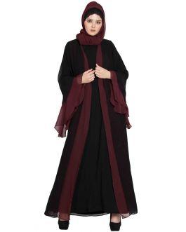 Dubai Style Abaya|Designer Abaya in Dual Color-Black & Wine