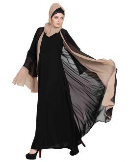 Dubai Style Abaya|Designer Abaya in Dual Color-Black & Beige