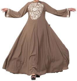 Beautiful Umbrella Flare Abaya Dress With Matching Embroidery Work