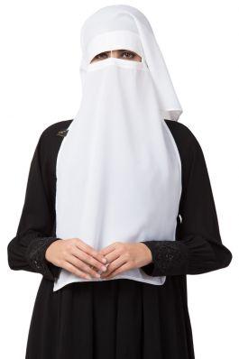 White Naqaab For Any Abaya