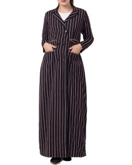Stylish and Elegant-Full Length Coat in Stripes