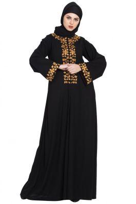 Golden Leaves Embroidered Abaya Black