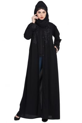 Frilled Bottom Embroidered Abaya Black and White Mushkiya