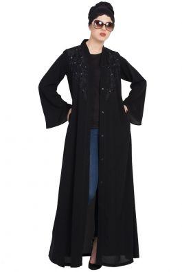 Frilled Bottom Embroidered Abaya Black and White Mushkiya
