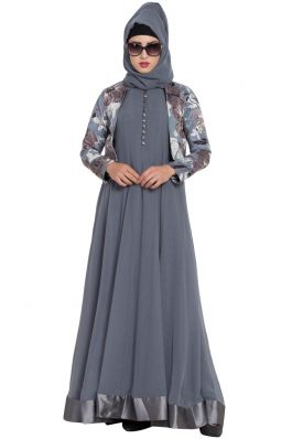 Stylish Abaya with Dual Layer And Contrast Jacket-Combo