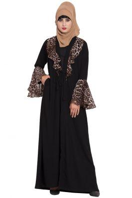 Cardigan Like Abaya With Animal Print
