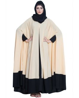 Designer Kaftan Abaya-Two Pc Set-Beige & Black