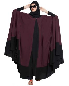 Designer Kaftan Abaya-Two Pc Set-Wine & Black