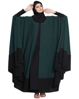 Designer Kaftan Abaya-Two Pc Set-Green & Black