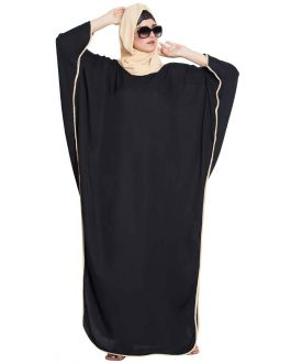 Haifa- Very Elegant Kaftan Abaya With Side Slits-Balck-Fawn-Rich Nida