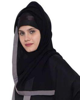 Black Georgette Hijab With Grey Color Border